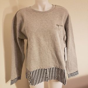 Nicole Miller twofer sweater&stripper shirting top
